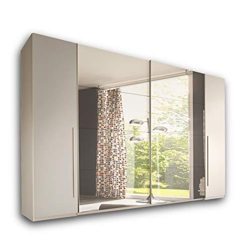 MATCH Eleganter Kleiderschrank mit viel Stauraum - Vielseitiger Schwebetürenschrank in Weiß mit Spiegel - 315 x 226 x 60 cm (B/H/T)