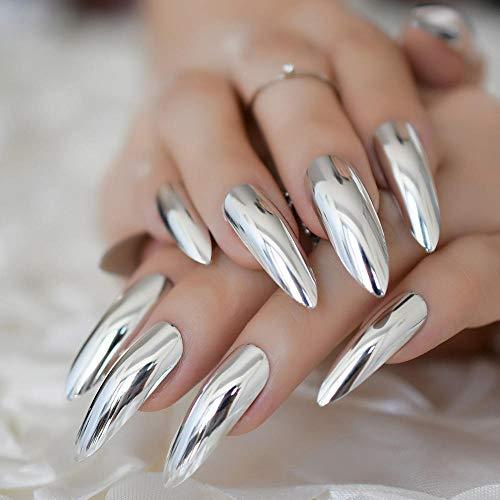 CSCH Faux ongles Extra long court épée miroir faux ongles argent sur les ongles presse couleur ongles artificiels conseils