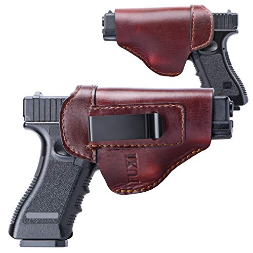 Fuxi Glock 19 Holster, The Defender Leather Holster for Glock 17 19 22 23 26 32 33 / Springfield XD & XDS/Plus -S&W M&P Shield All Similar Sized (Brown, Inside The Waistband - Right Side)