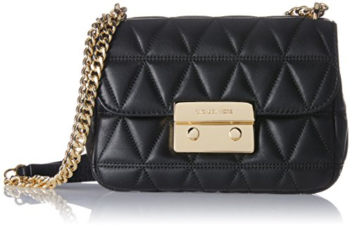 MICHAEL Michael Kors Sloan Small Quilted-Leather Shoulder Bag - Black / Gold