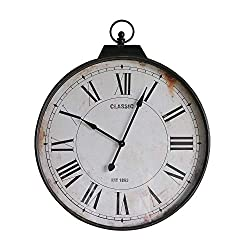 NIKKY HOME Classic Silent Wall Mounted Clock Vintage Distressed Metal Decorative Iron Industrial Style Large Clock - 36