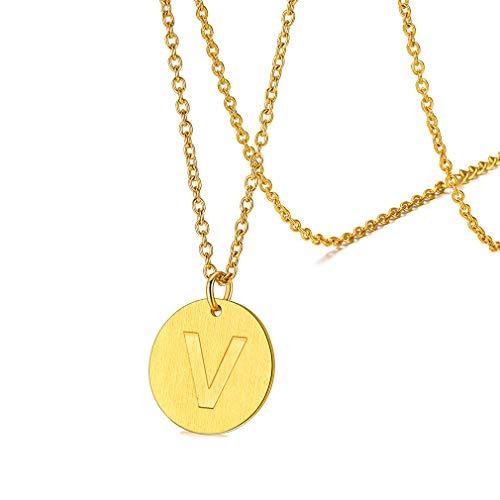 FaithHeart vergoldet namenkette Edelstahl Kette mit Buchstabe V Medaillon anhänger mit geschenkebox für Damen