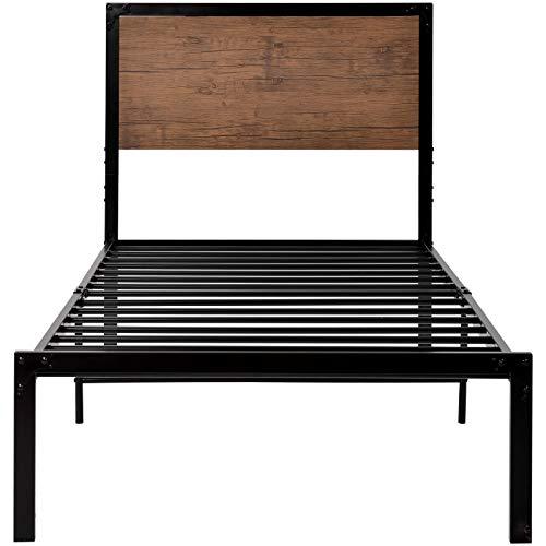 PovKeever - Cama con plataforma de metal, marco de cama individual con cabecero de madera para adultos y niños (90 x 190, negro)