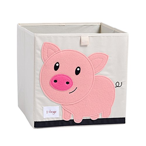DODYMPS Foldable Animal Canvas Storage Toy Box/Bin/Cube/Chest/Basket/Organizer for Kids, 13 inch (Pig)