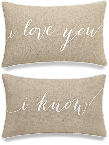 EURASIA DECOR DecorHouzz I Love u I Know Set of 2 Pcs Embroidered Pillow Case Pillow Cover Decorative Pillow Cushion Cover 12'x20' Couple Wedding Anniversary (Linen)