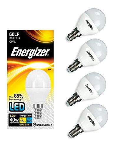 Energizer – Lot de 4 ampoules LED en forme de balle de golf culot E14, 470 lm, opale, 5,9 W équivalant à une puissance de 40 W, lumière blanche chaude 2700K