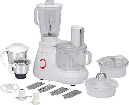 Rico Japanese Technology Food Processor with Coconut Scraper, Juicer, Blender Jar, Unbreakable Bowl, 3 Flow Breaker Jars (White, 700 Watt) I Made in India 2 Years Warranty