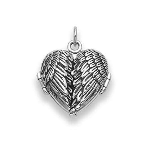 Gift Boxed 925 Sterling Silver Angel Wings Locket - Size: 19mm x 23mm - Premium Quality Opening Locket. (no Chain) 8017/B53HN
