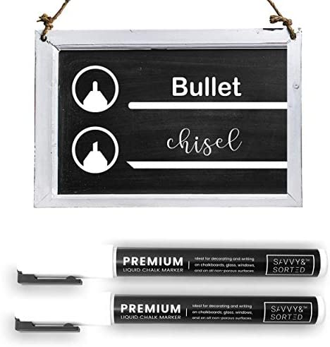 Erasable Liquid Chalk Markers White 2PK Fine Tip Chalk Marker for Chalkboard Bright Ink Easy product image