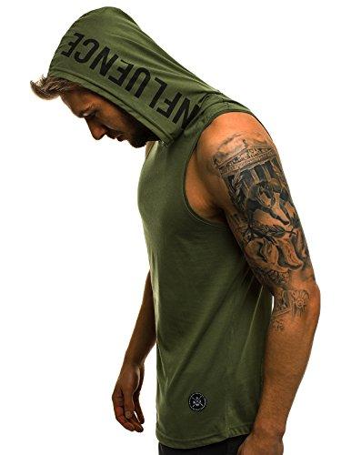 OZONEE Herren Tank Top Tanktop Kapuze Tankshirt Ärmellos Bodybuilding Shirt Unterhemd T-Shirt Tshirt Tee Muskelshirt Achselshirt Trägershirt Ärmellose Training MAD/2537 GRÜN L