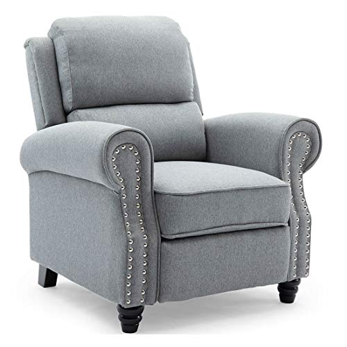 More4Homes DUXFORD FABRIC PUSHBACK RECLINER ARMCHAIR SOFA OCCASIONAL CHAIR CINEMA (Grey)
