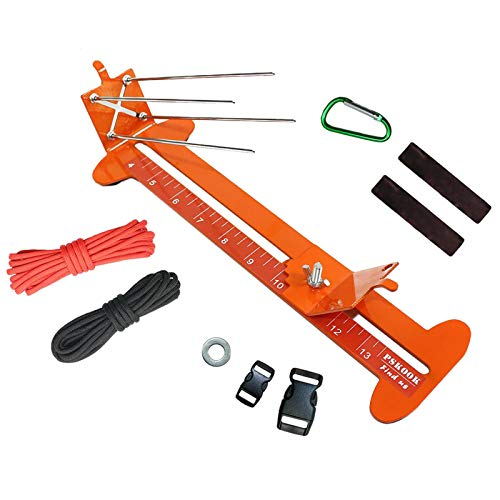 SM SunniMix Paracord Jig Kit, Stainless Steel Paracord Bracelet Jig Frame DIY Craft Maker Tool with Braided Rope, Fastening Buckle, Carabiner - Orange
