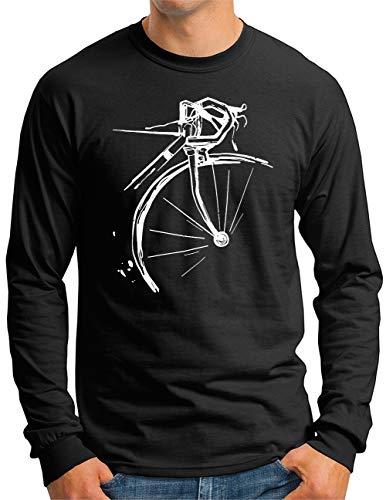 OM3® Bicycle Fahrrad Langarm Shirt | Herren | Vintage Radsport Radfahrer | Schwarz, XXL