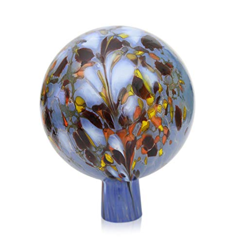 Lauschaer Glas Gartenkugel Rosenkugel aus Glas mit Granulat hellblau d 15cm mundgeblasen handgeformt
