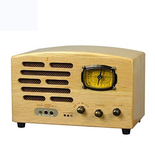 LFK Nogal - Radio retro multifunción con tarjeta SD inalámbrica Bluetooth para reproductor de radio (32 x 17 x 20 cm)