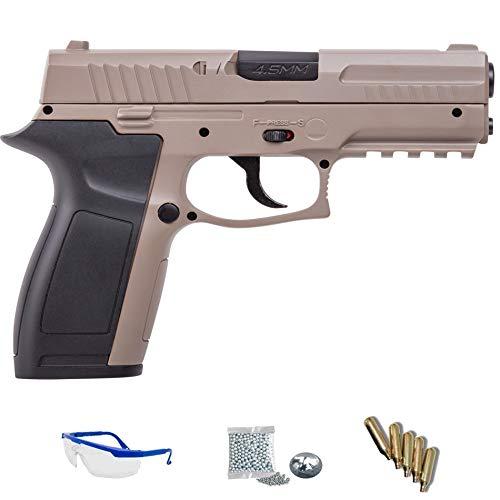 MK45 Crosman Pack Pistola de Aire comprimido (CO2) y balines de Acero (perdigones BBS) Calibre 4.5mm. Réplica de 150m/s <3,5J