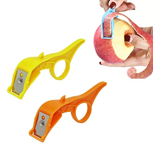 2 Pack 2 in 1 Peeler, Fast Finger Ring Fruit Peeler, Portable Orange Peeler Ring, Palm Peeler Great for All Types of Vegetable and Fruit (Yellow+Orange)