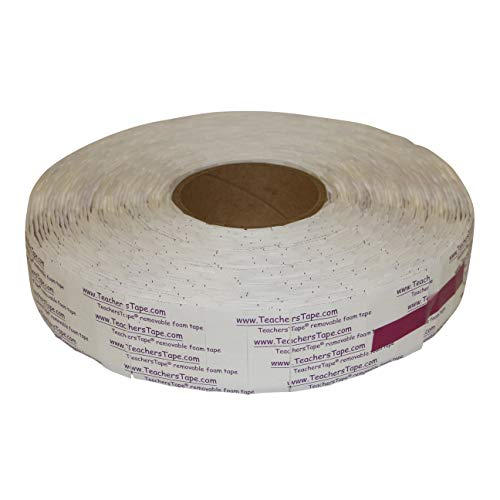 FindTape TeachersTape Double-Sided Removable Foam Tape Pads: 3/4 in x 3/4 in. (White) / 2000 pads/roll