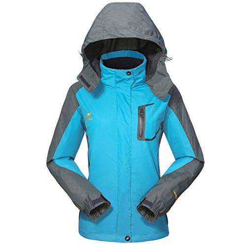 GIVBRO Damen Softshell Regenjacke 2017 Neues Design Sport Wasserdichte Outdoorjacke Atmungsaktive Multifunktions Funktionsjacke Jacke,Blau,EU 40(Herstellergröße:L)