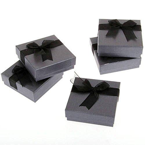 skyllc® Joyería Plaza Regalo Cajas Bowknot cartulina Cajas Pulsera Brazalete Reloj Caja Negro 90 * 90 * 32 mm