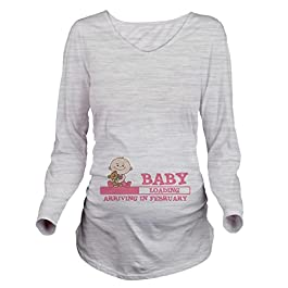 CafePress Arriving in February Long Sleeve Maternity Tee