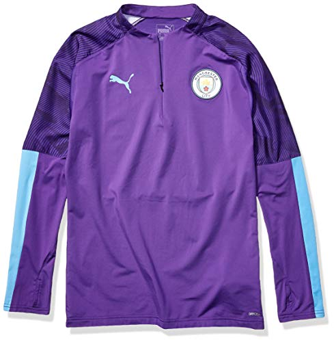 PUMA Mens International Soccer 1/4 Zip Training Top Manchester City, Tillandsia Purple/Team Light Blue, X-Large
