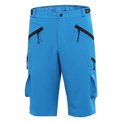 Pantalones Cortos De Ciclismo Hombre MTB Acolchados, Bicicleta Carretera Ropa Montaña Transpirable Impermeable, Correr Bolsillos Holgados Cremallera Deportes Aire Libre,Azul,S