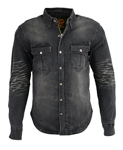 Milwaukee Performance Camisa de motociclista de mezclilla con aramida para hombre (negro, mediana), Negro, Mediano