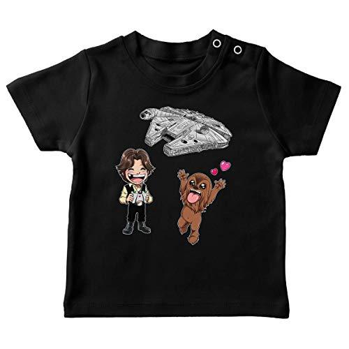 T-Shirt bébé Noir Parodie Star Wars - Han Solo et Chewbacca - Drone Mania : Le Cadeau d'anniversaire de Han et Chewie (T-Shirt de qualité Premium de Taille 18 Mois - imprimé en France)