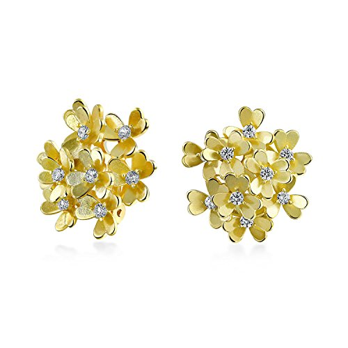 Bouquet Of Flower Shape Cubic Zirconia Clip On Earrings Button Style For Non Pierced Ears Matte 14K Gold Plated Brass