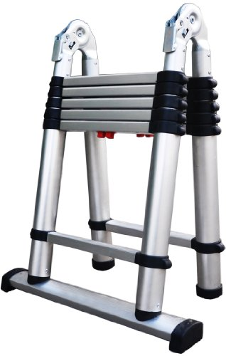 Telesteps 612tc the world's only fully automatic telescoping ladders, with patented one-touch release, osha compliant 6 ft a-frame/12 ft extension telescoping combi ladder