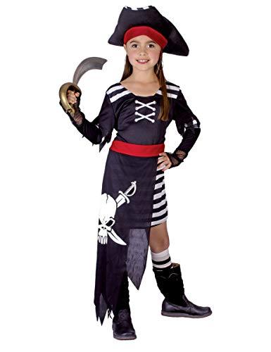 KULTFAKTOR GmbH Kleines Piraten-Mädchen Kinderkostüm Freibeuterin schwarz-Weiss-rot 110/122 (4-6 Jahre)