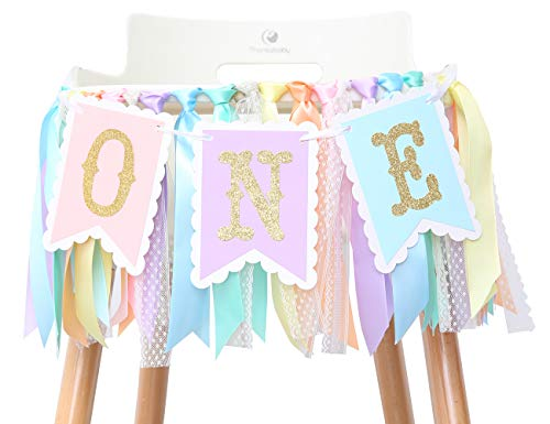 Rainbow High Chair Banner for 1st Birthday - Baby Girl Rainbow Smash Cake for Photo Props, First Birthday Photo Background, Macarons Color Ribbon (Rainbow High Chair Banner)