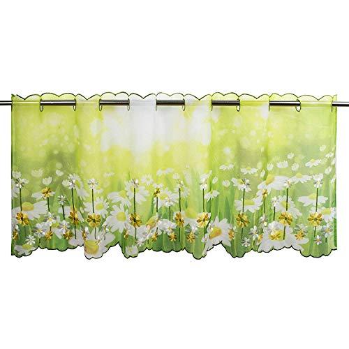 Tischdeckenshop24 Visillo veraniego para la cocina, color verde, 45 x 115 cm, cortina moderna y transparente para primavera y verano