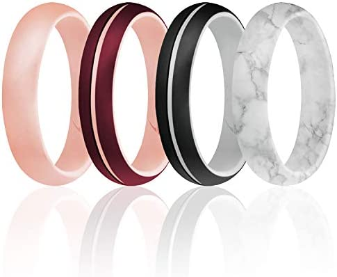 ROQ Silicone Rings for Women Thin Womens Silicone Rubber Wedding Rings Bands Engraved Middle product image