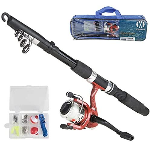 Pack caña de Pescar 2m + Carrete + Accesorios (anzuelos, flotadores e Hilo) | Combo de Pesca Deportiva telescópica Ultraligera