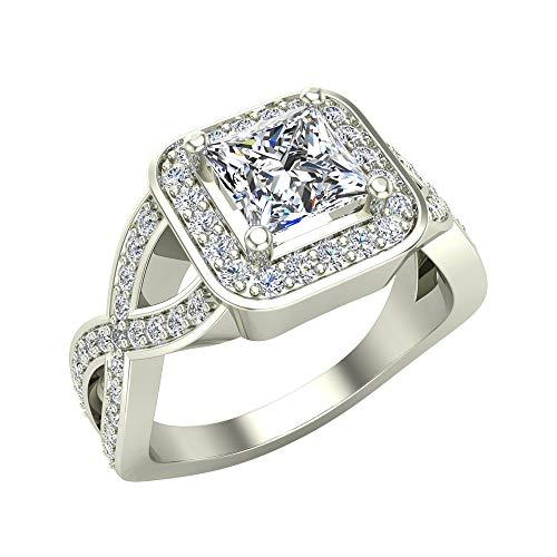 Anillo de compromiso de oro blanco de 14 quilates con halo cuadrado de diamante