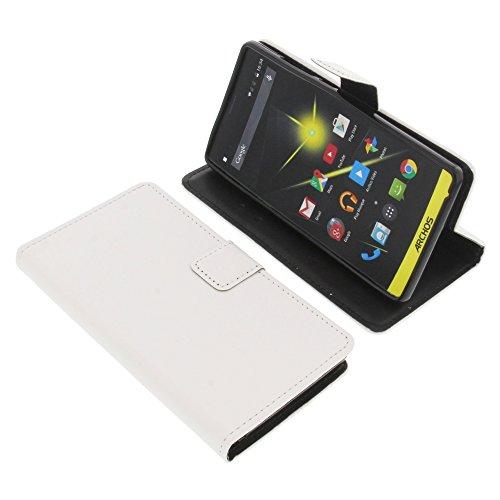 foto-kontor Tasche für Archos 50 Neon Book Style Schutz Hülle Buch weiß