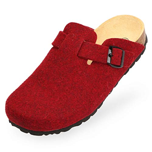 BOnova Wesel: Filzpantoffel in bordeaux, Größe 35. Hausschuhe aus weichem Wollfilz, mit Kork-Fußbett, hergestellt in der EU
