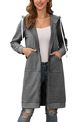 Yidarton Hoodie Damen Kapuzenpullover Langarm Herbst Winter Frauen Freizeit Sweatjacke Kapuzenpulli Outwear Kapuzenjacke (Dunkelgrau, Medium)