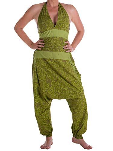 Vishes - Alternative Bekleidung - Damen Hippie Latzhose Overall Haremshose Neckholder aus Baumwolle mit Blümchen Olive-Hellgrün 36