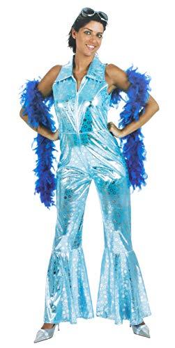 Brandsseller Damen Karneval Kostüm Disco Queen Ärmellos Party Junggesellinenabschied Verkleidung Glänzend Silber/Blau 42/44