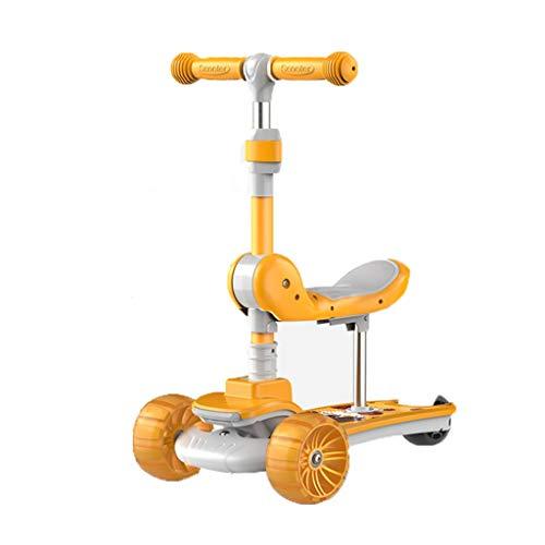 LICHUAN Scooter Mini Scooter para niños, Scooters con luces para niños y niñas, asiento extraíble y altura ajustable, diseño para niños de 4 a 8 años (color amarillo)