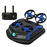 Mirarobot Domain S200 Mini Drone Barcos control remoto Coche 3-en-1 Modo Mar-Tierra-Aire Conmutable Impermeable Aerodeslizador Juguete RC Quadcopter Un botn Voltear sobre alarma de baja presin