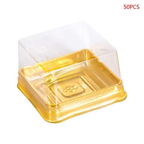 YO-HAPPY Contenedor de Galletas, 50pcs 63 / 100g Bandejas cuadradas para Pastel de Luna Mooncake Package Box Container Holder Gift