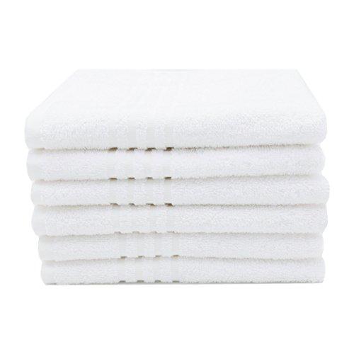 ZOLLNER 6 Toallas de tocador de Rizo Blancas, 100% algodón, 40x60 cm