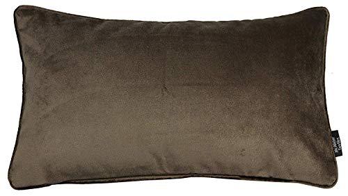 McAlister Textiles Matter Samt | Kissenbezug für Sofakissen in Mokka Braun | 60 x 40cm | erhältlich in 25 Farben | griffester Samt edel paspeliert | Kissenhülle für Samtkissen