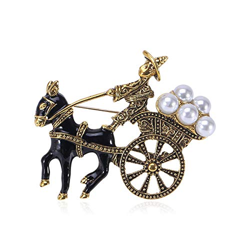 LOSAYM Novelty Brooches Retro Style Donkey Cart Brooch Jewelry