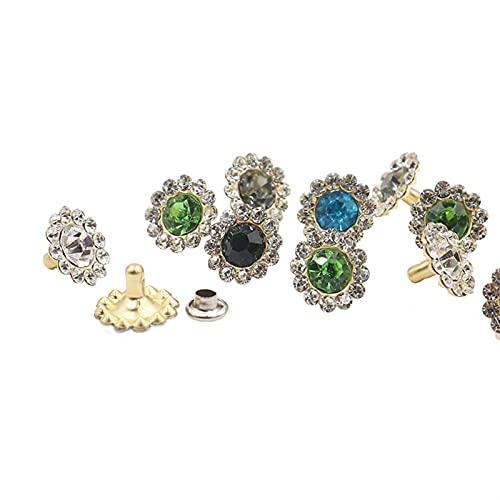 Remaches de metal 100sets 12mm Mix Color Crystal Rhinestone Remaches Forma de flores Tachuelas de zapato para Ropa Bolsa Lateralería Remache de prenda reparado (Color : As show)