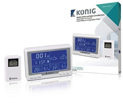 König Horloge Radio Station météo avec capteur extérieur, Blanc
